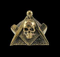 Bronze Masonic Freemason Skull Biker Ring - Any Size - Free Shipping #Handmade #Statement