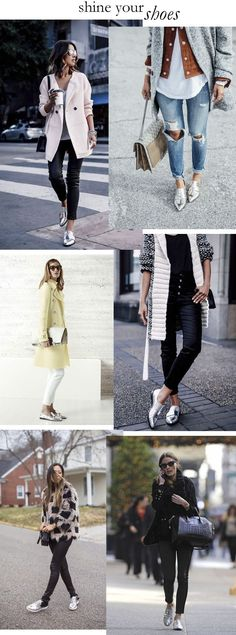 silver oxford shoes style