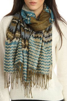 Pashmina Scarf In Turquoise.