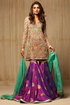 Check Latest party wear dresses 2020 in Pakistan for girls with new styles and designs for frocks, saree, and gowns. Get inspirational ideas about new party wear dress designs and trends by designers. Pakistani Gharara, Pakistani Party Wear Dresses, Pakistani Couture, Pakistani Wedding Dresses, Pakistani Outfits, Indian Outfits, Pakistani Mehndi, Shadi Dresses, Pakistani Clothing