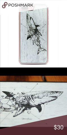 """iPhone 7 Plus Shark Case Used only once - no marks - like new condition - clear edging around.                                                                      Website Description: """"Special Edition wood case, featuring the artwork of Kerby Rosanes. This geometric great white shark is engraved on a sheet of genuine white-washed reconstituted ebony wood. Beautifully finished by hand. Made to order at our shop in Elkhart, Indiana."""" Accessories Phone Cases"""