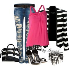 """Rock and Republic shoes with a pop of pink"" by shauna-rogers on Polyvore"