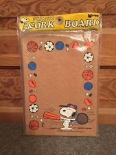 Vintage Snoopy Sports Peanuts Cork Board Sealed in Package Unopened