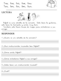 MilagroTIC: LECTOESCRITURA - FICHAS IMPRIMIBLES PDF- RECURSOS- INFANTIL- PRIMER CICLO PRIMARIA - NIVEL 3 Spanish 1, Spanish Lessons, Speech Language Therapy, Speech And Language, Maila, Reading Comprehension, Literacy, Sheet Music, Acting