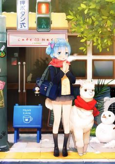 Schoolgirl Rem and an alpaca [Re:Zero] : awwnime