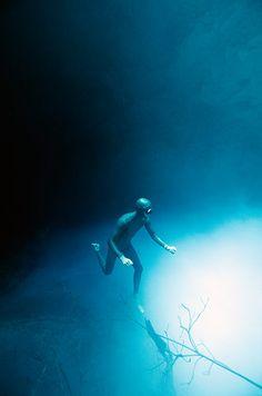 Free diving: Exploring a cenote in Mexico - photo by Christina Saenz de Santamaria