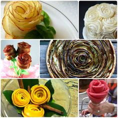 Rose Theme Food <3   From L-R a. Potatoes Roses: Thinly sliced potatoes arranged as flower with the help of toothpick and deep fried.  b. Rose Frosting looks great on cakes/cupcakes  c. Bacon rolled into a flower and cooked.  d. eggplant and zucchini slices arranged as rose on a tart shell and baked.  e. Orange Peel with spices kept as potpourri.  f. Rose shaped ice cream in a cone. Cuteness.