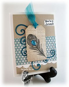 Feathered Tag - can do with Stampin' Up!'s Fine Feathers...