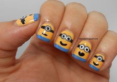 I am bringing before you minions nail art ideas, designs & stickers of of the movie Despicable me Funky Nail Art, Funky Nails, Cute Nails, Pretty Nails, Nail Art Designs, Minion Nail Art, Superman, Marvel Comics, Nailart