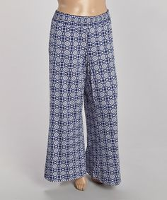 Loving this Navy Pinwheel Palazzo Pants - Plus on #zulily! #zulilyfinds