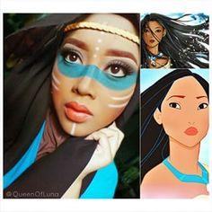 Y a su Pocahontas.   Esta mujer usa su hiyab y maquillaje para transformarse en personajes de Disney