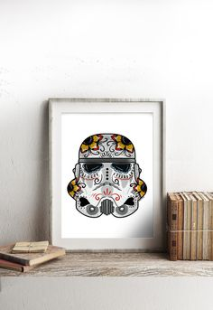 The Trooper Sugar Skull A4 Print -Inspired by Star Wars and Day of the Dead this sugar skull storm trooper print will look right at home on your wall or shelf - Jubly-Umph -  Print, - 4