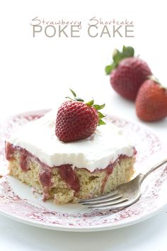 All the best of strawberry season in one delicious low carb poke cake. Tender cake with a sweet strawberry filling and topped with whipped cream. THM friendly! It's strawberry season in the P…