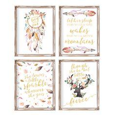 """Nursery Wall Art, Nursery Decor, Set of 4,  Baby Gift, Printable, Girl Nursery Art, Baby Girl Nursery, Tribal Nursery, Boho, Dreamcatcher by AdorenStudio on Etsy <a href=""""https://www.etsy.com/listing/268687049/nursery-wall-art-nursery-decor-set-of-4"""" rel=""""nofollow"""" target=""""_blank"""">www.etsy.com/...</a>"""