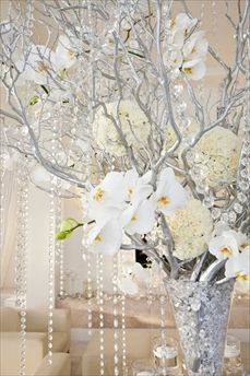 centerpieces, branches, orchids