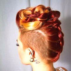 Long Hair updo with undercut/ shaved sides. Orange and red color