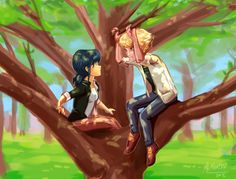 Adrien and  Marinette sittin  in a tree, K I S S I N G