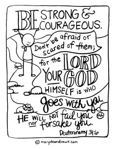 Wrestling Fears And Finding Peace Strong Courageous Deuteronomy Printable Coloring Page Marydean Draws