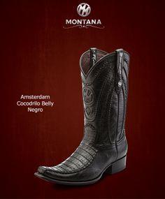 #Montana #Botas #Amsterdam #CocodriloBelly #Modelo AM104FY #Color Negro #MontanaisBack