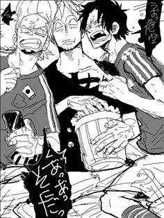 Marco & Thatch & Ace One Piece Équipage, One Piece Funny, One Piece Comic, One Piece Fanart, One Piece Manga, Fairy Tail Funny, Funny Anime Pics, Cartoon Art, Manga Anime