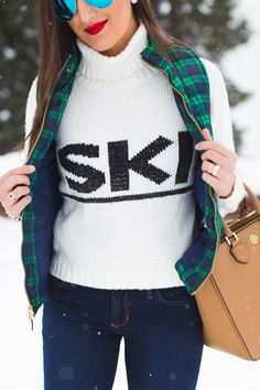ski turtleneck, winter style, winter fashion, plaid quilted vest, brown booties, colorado, crested butte, ski town, ski sweater, ray ban flash lens // grace wainwright from a southern drawl