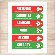 Personalized Christmas Holiday Tree Red Green Bookmarks - Printable