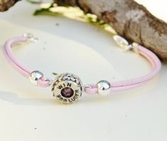 Bullet Jewelry - Shell Casing Bracelet - Pink Leather Strap - Sterling Silver. $35.00, via Etsy.