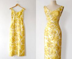 vintage 60s yellow floral silk shantung maxi dress XS by sodafine, $86.00
