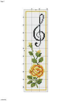 Fait en marque page Cross Stitch Music, Cross Stitch Books, Cross Stitch Bookmarks, Cross Stitch Cards, Cross Stitch Flowers, Cross Stitching, Cross Stitch Embroidery, Embroidery Patterns, Cross Stitch Designs