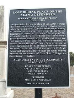 Lost Burial place of the Alamo Defenders marker San Antonio Texas – mi sitio The Alamo, Mexican American War, American History, Alamo San Antonio, Texas Revolution, American Revolution, Republic Of Texas, Texas History, Army History