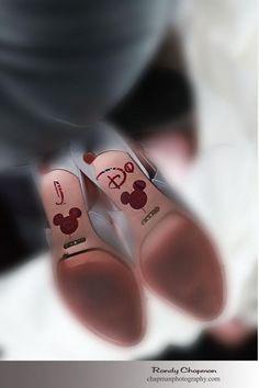 Hidden Mickeys on the bride's shoes - Rainy Disney Wedding Photos: Rose + Michael