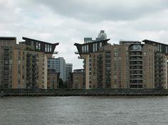 condos along the Thames  London UK June 2011