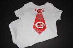 Cincinnati Reds Baseball Baby Tie Bodysuit or T-Shirt by BrikayDesigns on Etsy