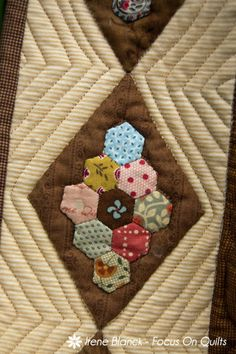 image of detail Confetti quilt by Irene Blanck - Focus On Quilts--what a great use for coordinating scraps. Longarm Quilting, Hand Quilting, Quilting Ideas, Quilt Patterns, Hexagon Quilting, Fabric Squares, English Paper Piecing, Star Quilts, Applique Quilts