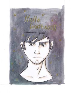 """Hello Sadness"" ilustración en acuarelas con tinta"