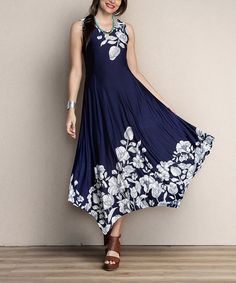 13e9c28b943 Love this Navy Floral Scoop Neck Handkerchief Dress - Plus by Reborn  Collection on  zulily