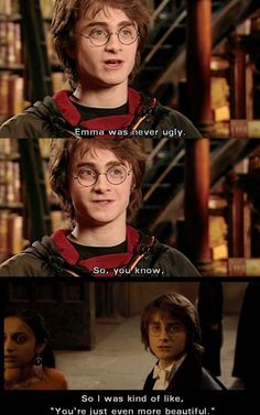 Daniel Radcliffe on Emma Watson in Harry Potter and the Goblet of Fire. Harry And Hermione, Hermione Granger Art, Harry Ptter, Daniel Radcliffe, Ron Weasley, Yer A Wizard Harry, Youtuber, Slimming World, Twilight Saga