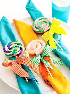 Cute & colorful lollipop napkins