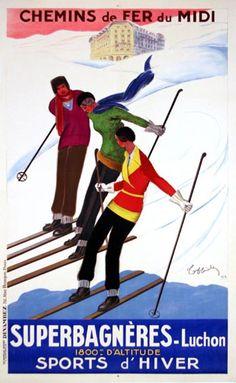 Chemins de Fers du Midi  (Trains of Midi)  Superbagneres - Luchon   Sports d'Hiver (Winter Sports)  Cappiello 1929    Cappiello - 1929