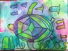 Second grade students are learning to draw using organic and geometric shapes. They are also using cool colors (shades of blue, green, and v...