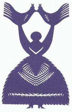 Polskie - mazowieckie wycinanki ludowe - Leluje i Lalki, gdzie postaci kobiecej i/lub  drzewu towarzyszą zwykle dwa bliźniacze ptaki lub jelonki.