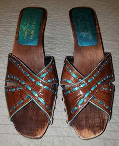 d9a60a1834e9cc DONALD J PLINER Brown Leather Turquoise Wood Embellished Slides Western Sz  7  fashion  clothing  shoes  accessories  womensshoes  heels (ebay link) ...