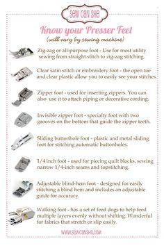 Know your Presser Feet postcard #sewing #tips #presser_feet