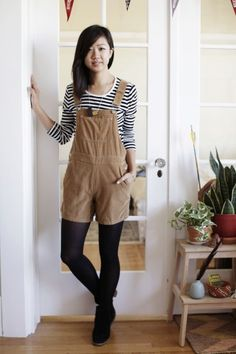 R29 overalls and stripes and tights