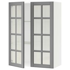 IKEA - SEKTION white Wall cabinet with 2 glass doors Frame colour: