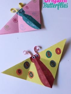 Origami Butterflies Kids Craft. Keep those kiddos busy and content!