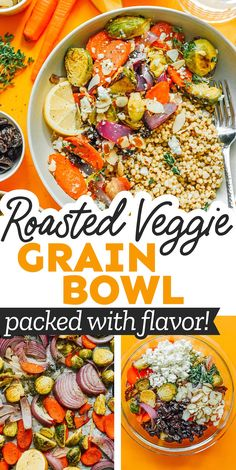 These Roasted Vegetable Grain Bowls check all the boxes. Tender roasted veggies, lemony sorghum, sliced almonds, and tangy feta cheese. Your new favorite healthy weeknight dinner! #vegetarian #roastedveggies #vegetables #dinner