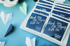 Fly Away with Me themed #wedding #favors.  photo: Tesar Photography | stylist: Nicki Cloud Event Design & Production #southenrbridemagazine #southernbride #weddings #weddingdetails #cookies