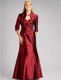 2-Piece Elegant Shawl Sweetheart Floor Length Taffeta Mother Of Bride And Groom Dress
