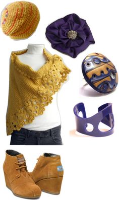 """""""Mustard and Blue"""" by overtherainbow-photography on Polyvore    Shawl - http://etsy.me/T8i050  Beannie hat - http://etsy.me/I5Zwf5  Flower brooch - http://etsy.me/LKhm9P  Ring - http://etsy.me/zsBrdC  Cuff/Bracelet - http://etsy.me/GU24PS"""